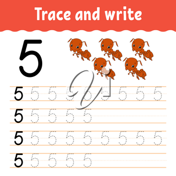 Trace and write. Handwriting practice. Learning numbers for kids. Education developing worksheet. Color activity page. Isolated vector illustration in cute cartoon style.