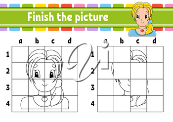Finish the picture. Coloring book pages for kids. Education developing worksheet. Game for children. Handwriting practice. Cartoon character. Vector illustration.