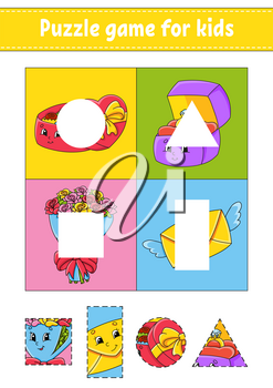 Puzzle game for kids. Cut and paste. Cutting practice. Learning shapes. Education worksheet. Valentine's Day. Circle, square, rectangle, triangle. Activity page.Cartoon character.