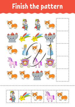 Finish the pattern. Cut and play. Education developing worksheet. Activity page.Cartoon character.