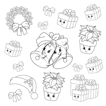 Coloring book for kids. Merry Christmas theme. Cheerful characters. Vector illustration. Cute cartoon style. Black contour silhouette. Isolated on white background.