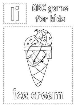 Letter I is for ice cream. ABC game for kids. Alphabet coloring page. Cartoon character. Word and letter. Vector illustration.