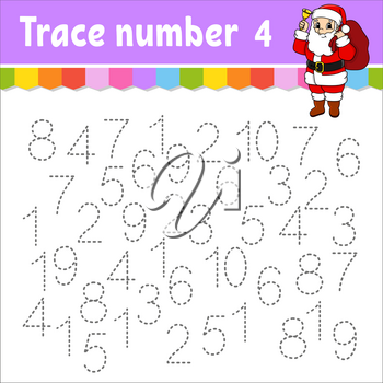Trace number . Handwriting practice. Learning numbers for kids. Education developing worksheet. Activity page. Game for toddlers and preschoolers. Isolated vector illustration in cute cartoon style.