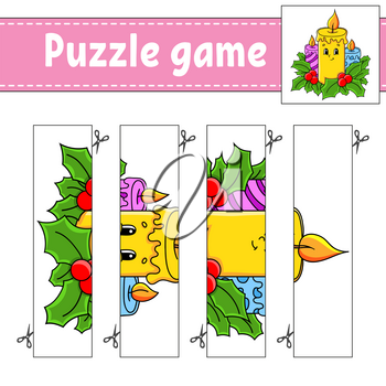 Puzzle game for kids. Cutting practice. Christmas theme. Education developing worksheet. Activity page. Cartoon character.