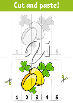 Learning numbers 1-5. Cut and glue. Cartoon character. Education developing worksheet. Game for kids. Activity page. Color isolated vector illustration. St. Patrick's day.