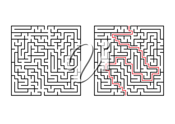 Abstract square maze. Simple flat vector illustration isolated on white background. With the answer