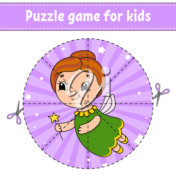 Cut and play. Round puzzle. Tooth Fairy. Logic puzzle for kids. Activity page. Cutting practice for preschool. Cartoon character.