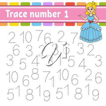 Trace number 1. Handwriting practice. Learning numbers for kids. Education developing worksheet. Activity page. Game for toddlers and preschoolers. Isolated vector illustration in cute cartoon style.