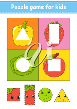 Puzzle game for kids. Cutting practice. Fruits and vegetables. Education developing worksheet. Activity page.Cartoon character.
