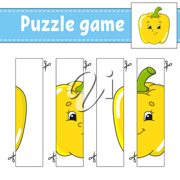 Puzzle game for kids. Vegetable pepper. Cutting practice. Education developing worksheet. Activity page.Cartoon character.