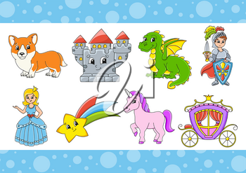 Set of stickers with cute cartoon characters. Fantasy clipart. Hand drawn. Colorful pack. Vector illustration. Patch badges collection for kids. For daily planner, organizer, diary.