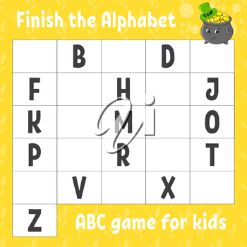 Finish the alphabet. ABC game for kids. Education developing worksheet. Learning game for kids. Color activity page.