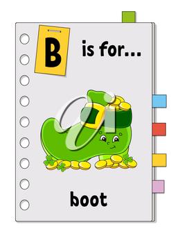 ABC game for kids. Word and letter. Learning words for study English. Cartoon character. Color vector illustration.