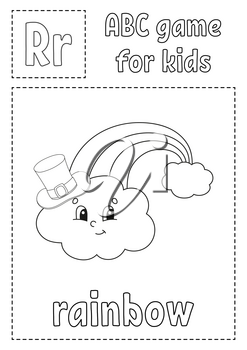 ABC game for kids. Alphabet coloring page. Cartoon character. Word and letter. St. Patrick's day. Vector illustration.