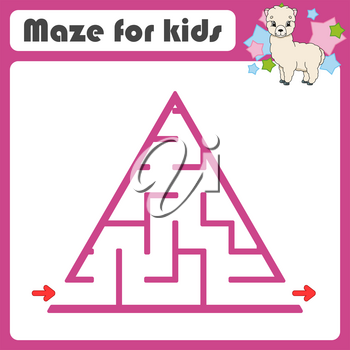 Square maze. Game for kids. Animal alpaca. Puzzle for children. Cartoon style. Labyrinth conundrum. Color vector illustration. Find the right path. The development of logical and spatial thinking.