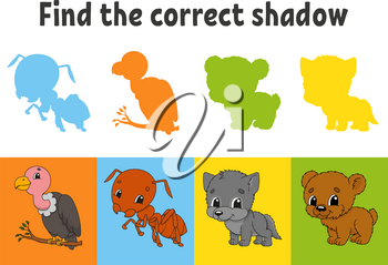 Find the correct shadow. Vulture, ant, wolf, bear. Education worksheet. Matching game for kids. Color activity page. Puzzle for children. Cartoon character. Isolated vector illustration.