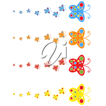 A flock of flat colored isolated butterflies flying one after another. Four color options in the set.