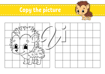 Copy the picture. Coloring book pages for kids. Education developing worksheet. Game for children. Handwriting practice. Funny character. Cute cartoon vector illustration