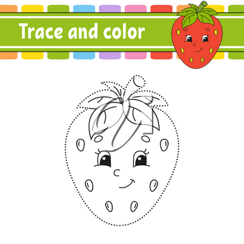 Trace and color. Handwriting practice. Education developing worksheet. Activity page. Game for toddler and preschoolers. Isolated vector illustration. Cartoon style.