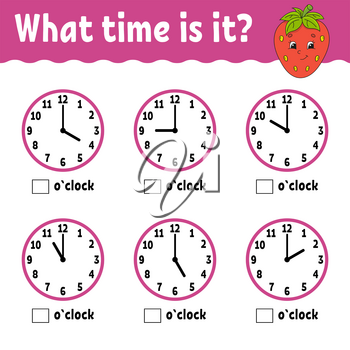 Learning time on the clock. Educational activity worksheet for kids and toddlers. Game for children. Simple flat isolated vector illustration in cute cartoon style.