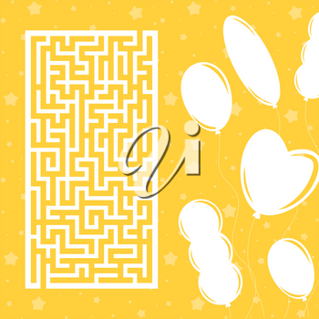 Color rectangular maze. Game for kids. Puzzle for children. Labyrinth conundrum. Flat vector illustration isolated on color festive background with balloons