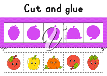 Cut and glue. Color activity worksheet for kids. Game for children. Cartoon character. Vector illustration.