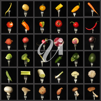 Colorful vegetable collage on black background