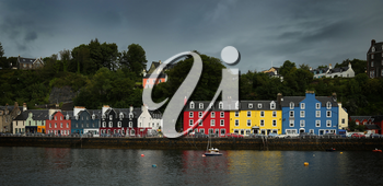 View of colourful houses at Tobermory, isle of Mull in Scotland