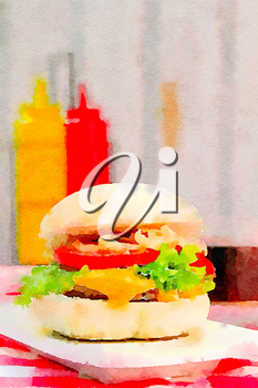 Digital watercolor of a cheeseburger with ketchup and yellow mustard in the background