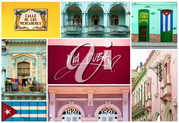Collage of different architecture and colourful place in Havana in Cuba