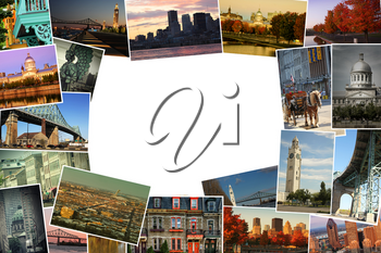 Collage of images from famous location in Montreal, Canada with copy space in the middle
